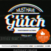 Glitch vhs corrupt image effect photoshop actions 11939518 icon