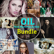 Oil paint bundle acciones photoshop icon