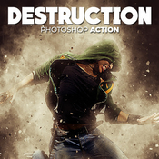 Destruction photoshop action explosion effect icon