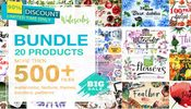 Watercolor mega bundle 20 sets with over 500 graphics icon