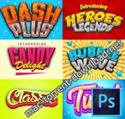 Game logo text effect styles bundle icon