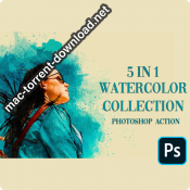 5 in 1 Watercolor collection bundle Photoshop Action icon